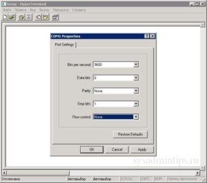 Sensatronics temperature monitor E4 - настройки для порта COM1
