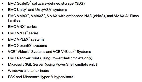 Список поддерживаемых ESI систем хранения данных и продуктов