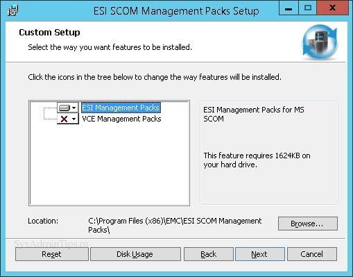 Выбор пакетов ESI SCOM в мастере установки