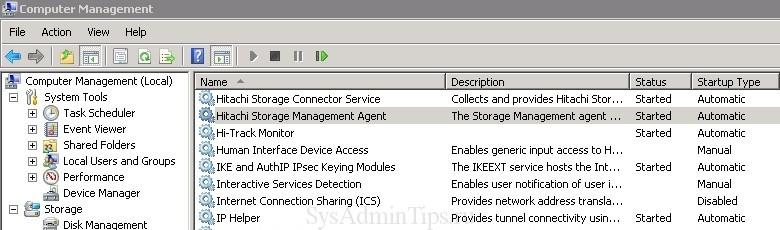 Проверка работы службы Hitachi storage management agent