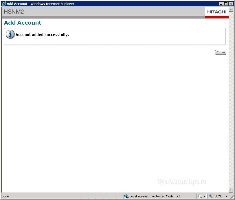 Учетная запись для мониторинга создана в HSNM2