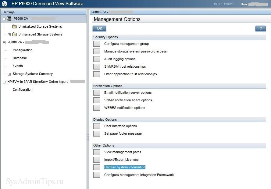 Выбор опции Capture system information в Сommand View