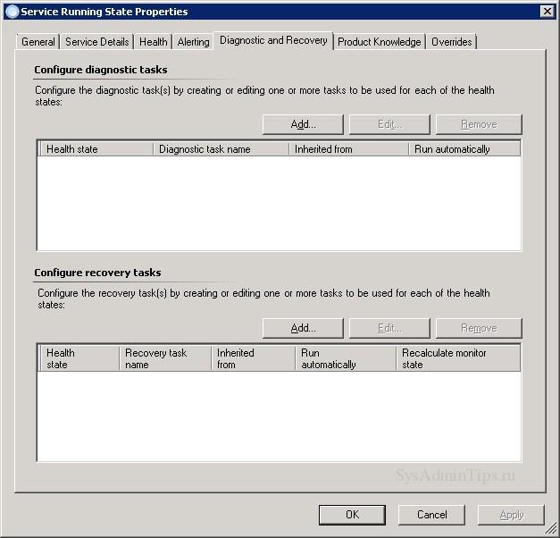 Вкладка Diagnostic and recovery для монитора SCOM