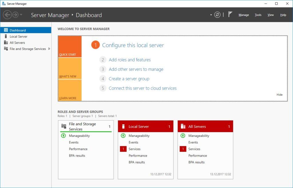 Запуск Server Manager на сервере 2016