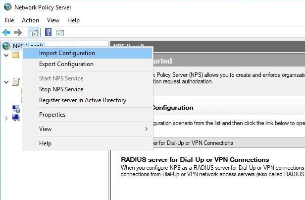 Импорт конфигурации в Network Policy Server