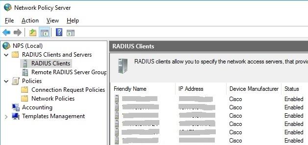 Проверка клиентов RADIUS после импорта настроек