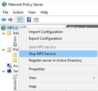 Остановка NPS через консоль