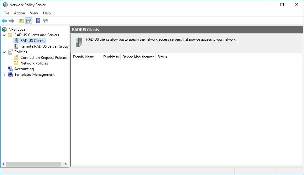 пример консоли Network Policy Server