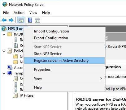 Регистрация сервера NPS в Active Directory