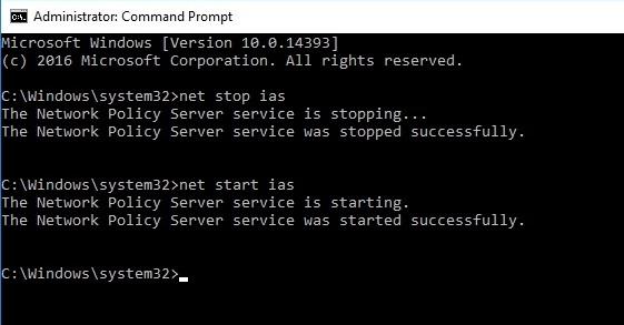 Рестарт службы NPS командой net