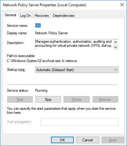 Свойства службы IAS в Windows 2016