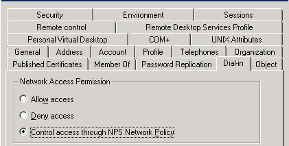 Вкладка Dial-in в свойствах учетной записи в Active Directory