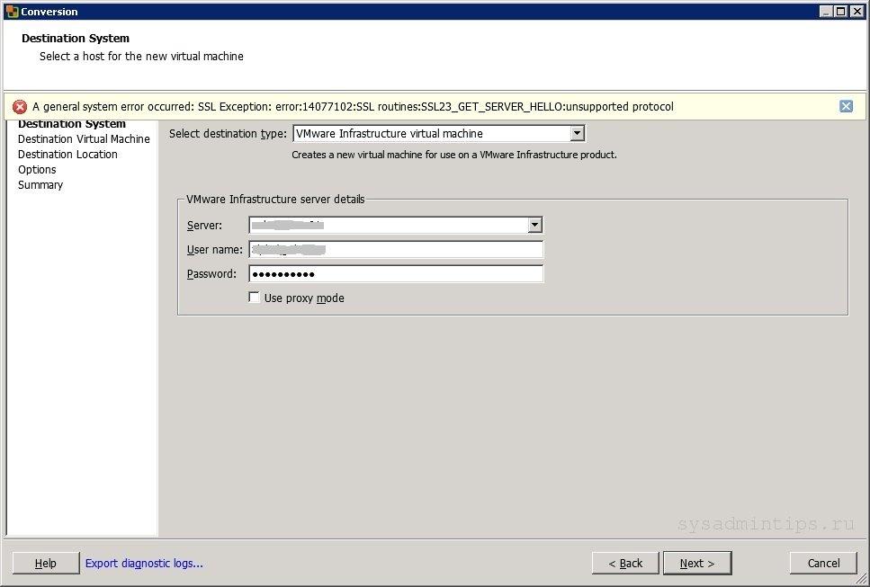 SSL Exception - 14077102, SSL23_GET_SERVER_HELLO, unsupported protocol