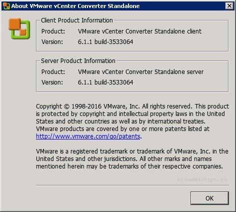 VMware vCenter Converter Standalone версии 6.1.1 3533064