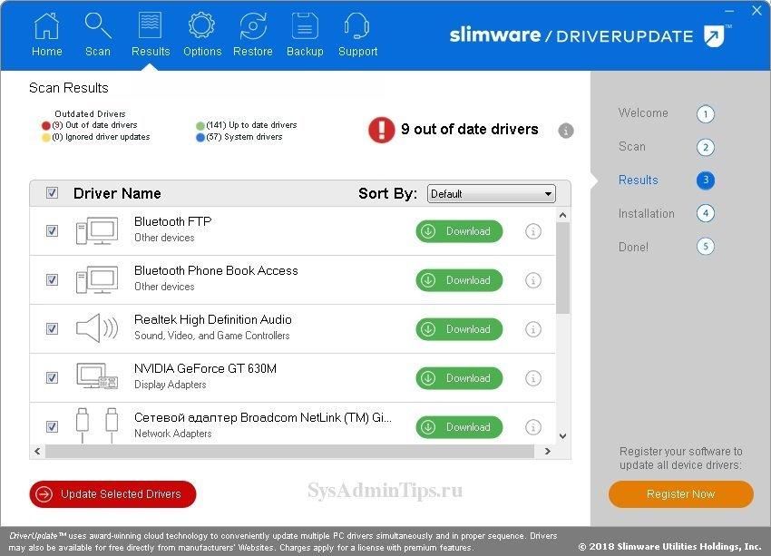 Результат сканирования slimware driverupdate
