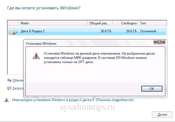Невозможно установить windows 10 в раздел